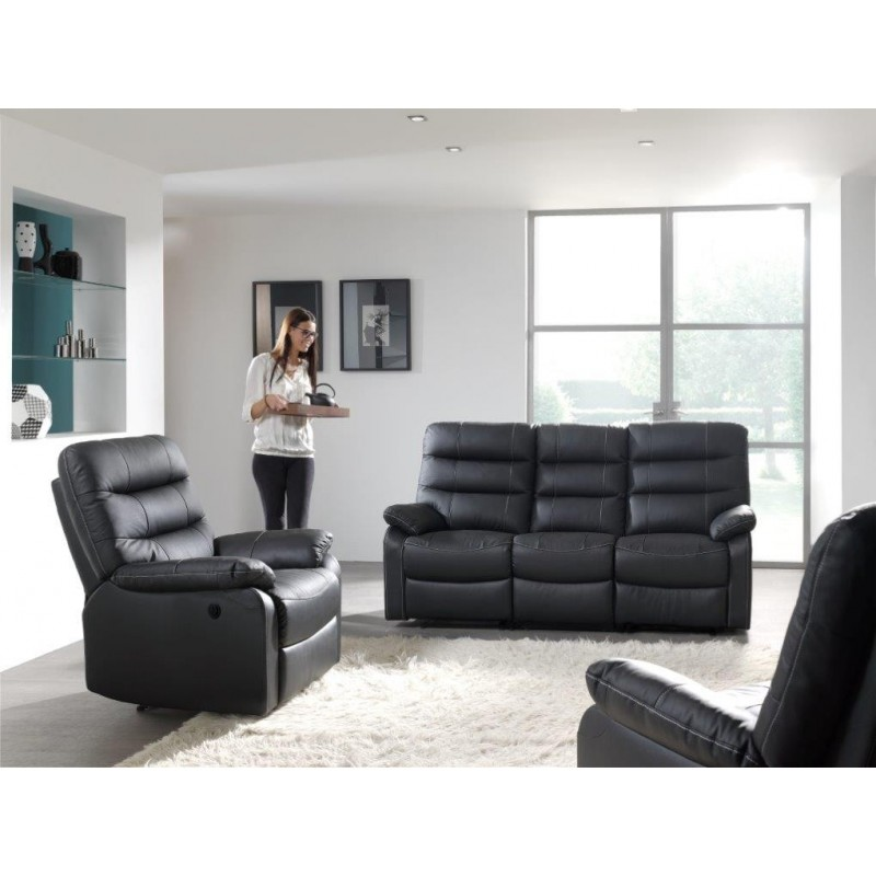 canap cuir avec relax electriques panel meuble. Black Bedroom Furniture Sets. Home Design Ideas
