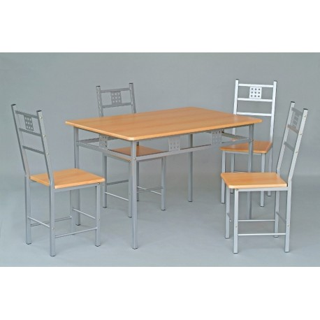 Ensemble table et 4 chaises de cuisine panel meuble for Ensemble table et chaise de cuisine