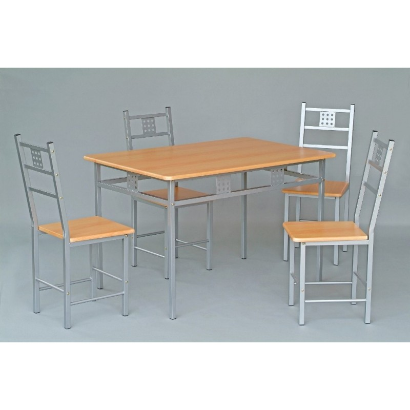 Ensemble table et 4 chaises de cuisine panel meuble for Ensemble chaise et table de cuisine