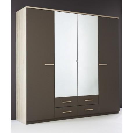 armoire penderie rangement moderne 4 portes panel meuble magasin de meubles en ligne. Black Bedroom Furniture Sets. Home Design Ideas