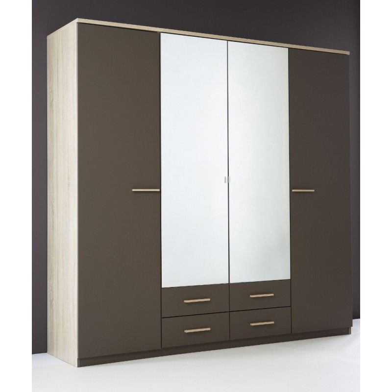 armoire penderie rangement moderne 4 portes panel meuble. Black Bedroom Furniture Sets. Home Design Ideas