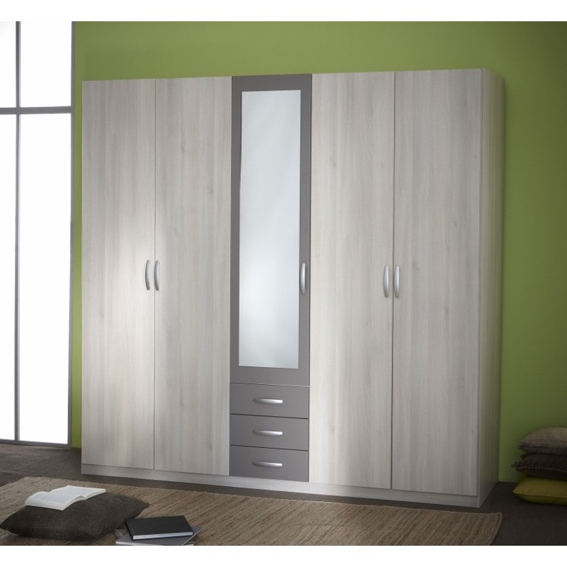 armoire penderie rangement moderne 5portes panel meuble. Black Bedroom Furniture Sets. Home Design Ideas
