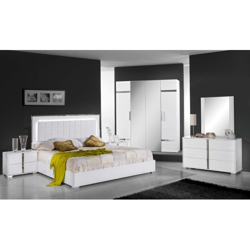 Chambre coucher compl te design moderne panel meuble for Chambre adulte complete destockage