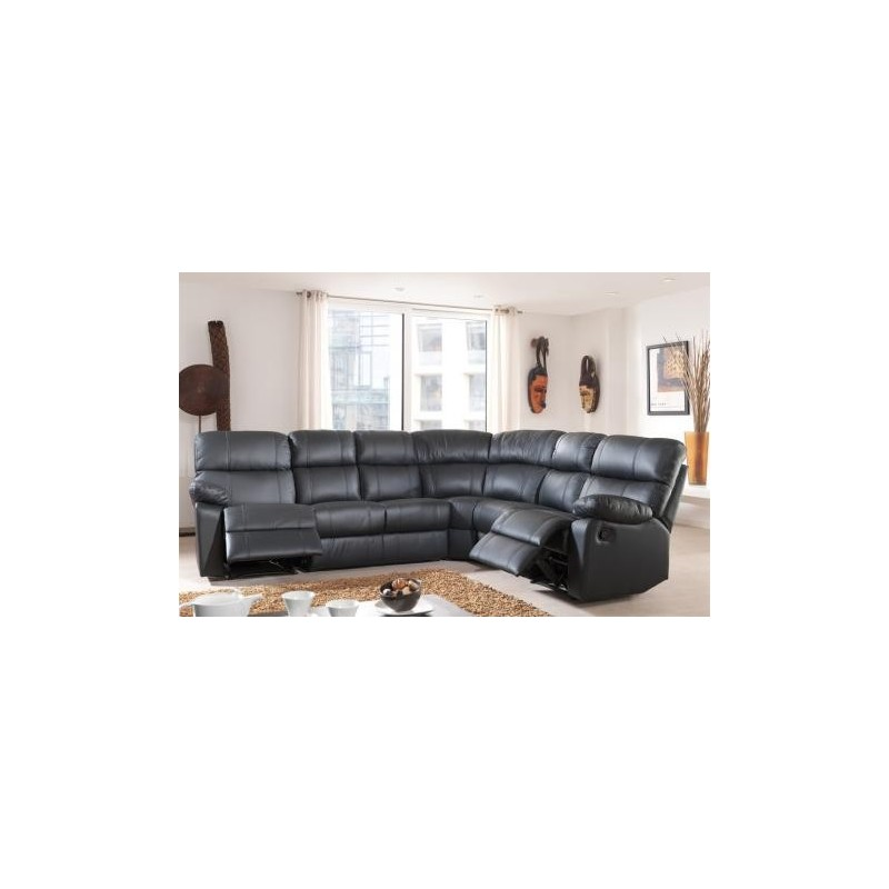 Canap d 39 angle demi cuir avec 2 relax panel meuble - Canape avec bibliotheque integree ...