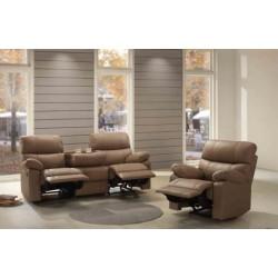 Canapé 3 places classique demi cuir